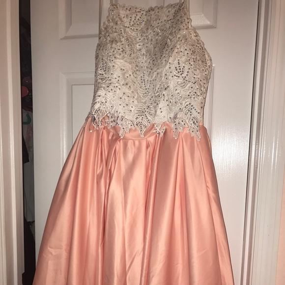 Peach and White Prom Dress